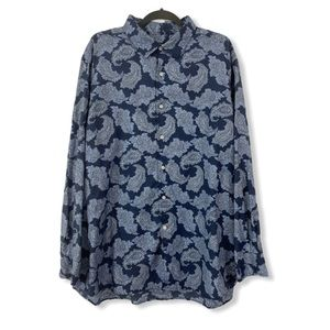 Cremieux XXL Button Down Shirt Paisley Blue Cotton